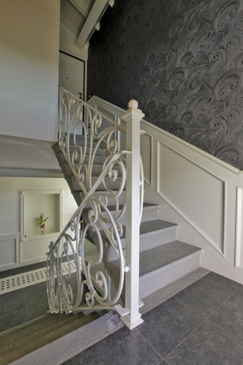 White Banister Sezione Wrought Iron Balusters